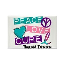 PEACE LOVE CURE Thyroid Cancer (L1) Rectangle Magn