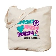 PEACE LOVE CURE Thyroid Cancer (L1) Tote Bag
