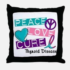 PEACE LOVE CURE Thyroid Cancer (L1) Throw Pillow