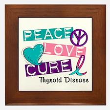 PEACE LOVE CURE Thyroid Cancer (L1) Framed Tile