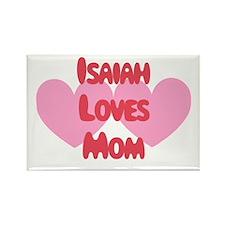 Isaiah Loves Mom Rectangle Magnet