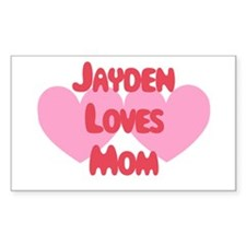 Jayden Loves Mom Rectangle Decal