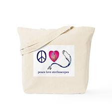 Peace,Love,Stethoscopes Tote Bag