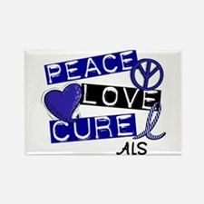 PEACE LOVE CURE ALS (L1) Rectangle Magnet