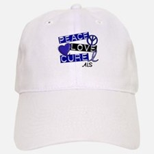 PEACE LOVE CURE ALS (L1) Baseball Baseball Cap