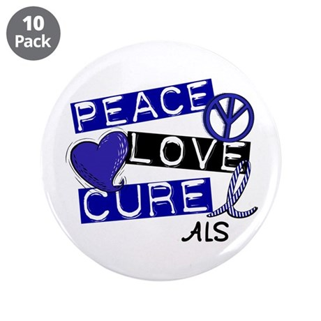 "PEACE LOVE CURE ALS (L1) 3.5"" Button (10 pack)"
