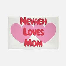 Nevaeh Loves Mom Rectangle Magnet