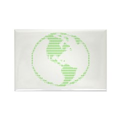 ASCII Green Earth Rectangle Magnet