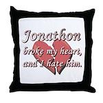 Jonathon broke my heart and I hate him Throw Pillo