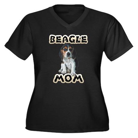 Beagle Mom Women's Plus Size V-Neck Dark T-Shirt
