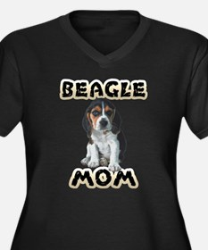 Beagle Mom Women's Plus Size V-Neck Dark T-Shirt