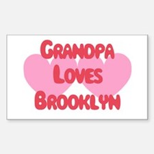 Grandpa Loves Brooklyn Rectangle Decal