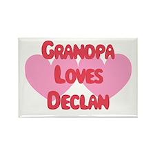 Grandpa Loves Declan Rectangle Magnet