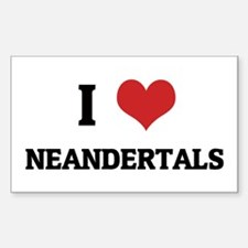 I Love Neandertals Rectangle Decal