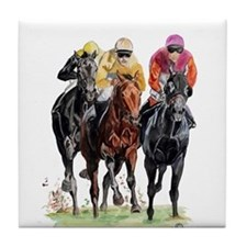 Cute Horse racing Tile Coaster