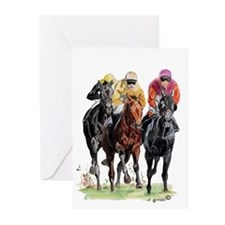 Funny Thoroughbred racing Greeting Cards (Pk of 20)