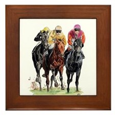 Cute Horse racing Framed Tile