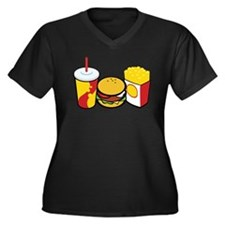 Fast Food Women's Plus Size V-Neck Dark T-Shirt