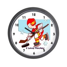 I Love Hockey Wall Clock