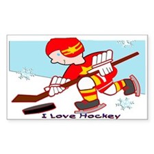 I Love Hockey Rectangle Decal