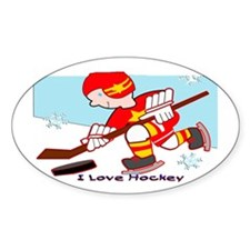 I Love Hockey Oval Decal