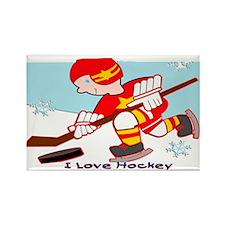 I Love Hockey Rectangle Magnet