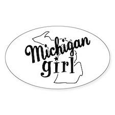 Michigan Girl Oval Sticker (10 pk)
