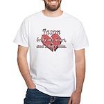 Jason broke my heart and I hate him White T-Shirt