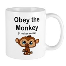 """Obey the Monkey, (it makes s Small Mugs"