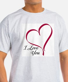I Love You Heart Ash Grey T-Shirt