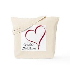 World's Best Mom Heart Tote Bag