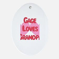 Gage Loves Grandpa Oval Ornament