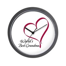 World's Best Grandma Heart Wall Clock