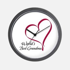 World's Best Grandma Heart Wall Clock