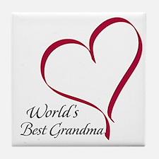 World's Best Grandma Heart Tile Coaster