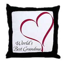 World's Best Grandma Heart Throw Pillow