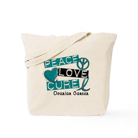 PEACE LOVE CURE Ovarian Cancer (L1) Tote Bag