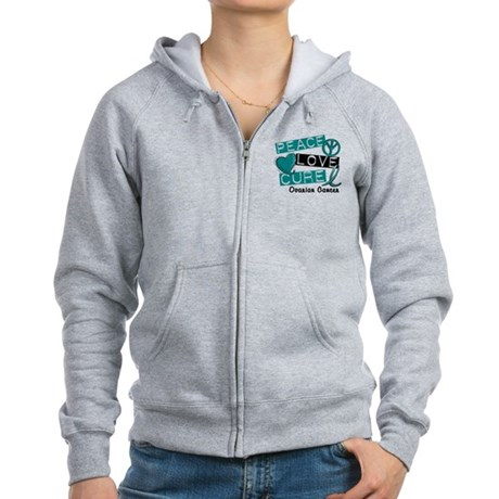 PEACE LOVE CURE Ovarian Cancer (L1) Women's Zip Ho