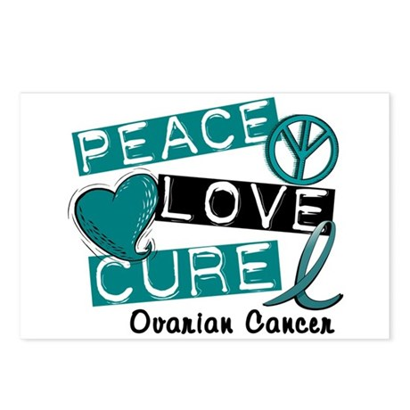 PEACE LOVE CURE Ovarian Cancer (L1) Postcards (Pac