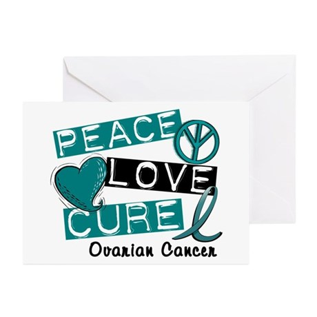 PEACE LOVE CURE Ovarian Cancer (L1) Greeting Cards