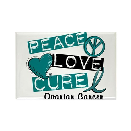 PEACE LOVE CURE Ovarian Cancer (L1) Rectangle Magn