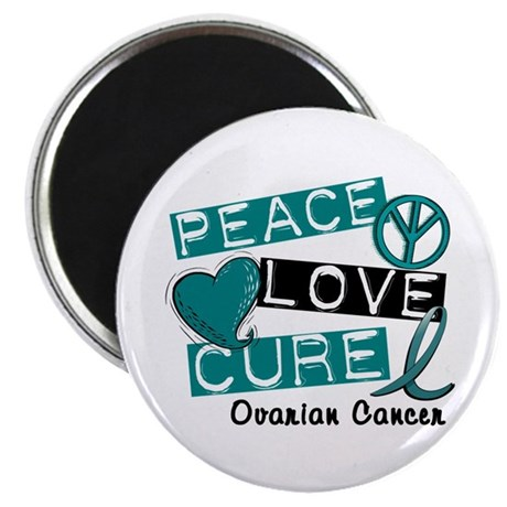 "PEACE LOVE CURE Ovarian Cancer (L1) 2.25"" Magnet ("