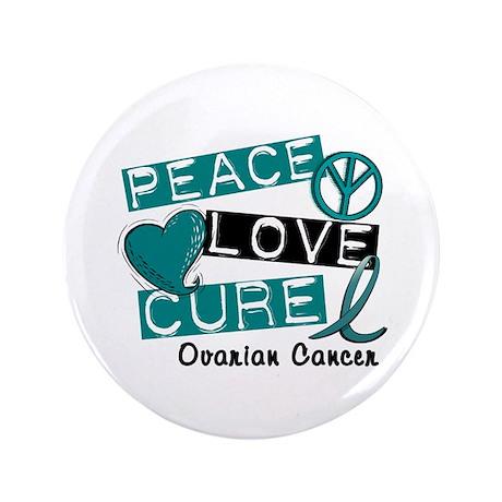 "PEACE LOVE CURE Ovarian Cancer (L1) 3.5"" Button (1"