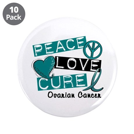 "PEACE LOVE CURE Ovarian Cancer (L1) 3.5"" Button (1"