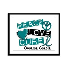 PEACE LOVE CURE Ovarian Cancer (L1) Framed Panel P
