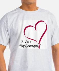 I Love My Grandpa Heart Ash Grey T-Shirt