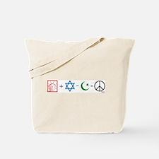 USA plus Israel minus Islam is Peace Tote Bag