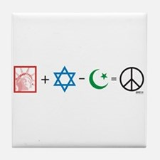 USA plus Israel minus Islam is Peace Tile Coaster
