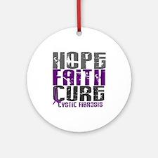 HOPE FAITH CURE Cystic Fibrosis Ornament (Round)