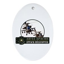 AH-64 Apache Helicopter Oval Ornament